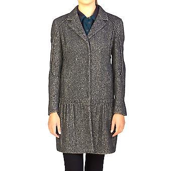 Prada Women's Wool Cashmere Blend Ribbed Overcoat Grey