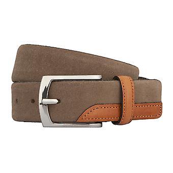 OTTO KERN belts men's belts leather belt suede olive / / brown 2784