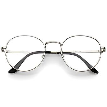 Classic Slim Metal Frame Clear Flat Lens Round Eyeglasses 52mm