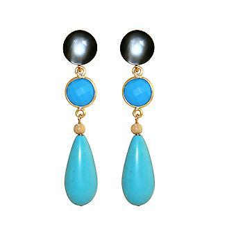 GEMSHINE earrings with turquoise gemstones. Earrings in 925 silver plated.