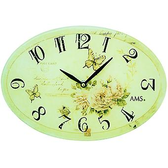 Wall clock quartz analog oval vintage antique retro roses and butterflies