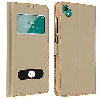 Double window flip standing case for Wiko Sunny 2 Plus with TPU shell - Gold