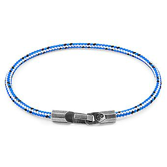 Anchor & Crew Blue Dash Talbot Silver and Rope Bracelet