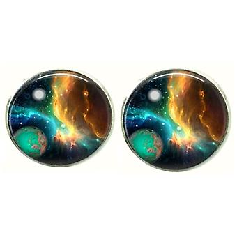 Bassin and Brown Space and Planet Cufflinks - Navy/Green/Yellow