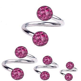 Kierre kierre lävistyksiä titaani 1,6 mm, Multi Crystal Ball vaaleanpunainen | 8 - 12 mm