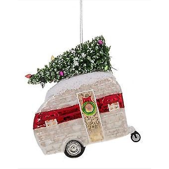 Red and Silver Camper Bringing Home Decorated Tree Christmas Holiday Ornament