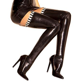 Honour Women's Sexy Stocking in Rubber Black & White Vintage Style