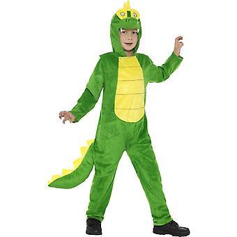 Deluxe krokotiili puku, vihreä, hupullinen Jumpsuit & häntä