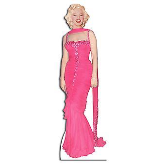 Marilyn Monroe dragen van roze avondjurk / Dress - levensgrote kartonnen uitgesneden / Standee