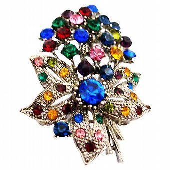 Alliage de Métal Bouquet Broche fleur w / Cristaux Printemps multicolore Broche