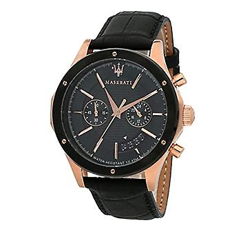 MASERATI watch chronograph quartz men's watch with leather R8871627001