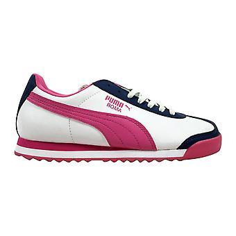 Puma Roma Basic Jr White/Pink-Dark Denim  Grade-School 354259 09 Size 4 Medium