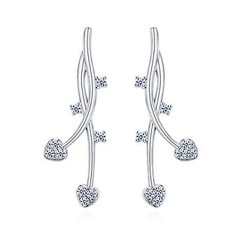 925 Sterling Silver Aaaaa Cz Vine Floral Drop Earrings