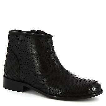 Leonardo Shoes Women's handmade ankle booties in black openwork calf leather
