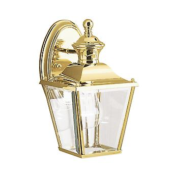 Kichler Bay Shore Small Outdoor Wall Lantern Light In Polished Brass