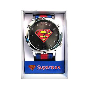 Superman Symbol Striped Strap Watch
