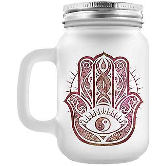 Non ortodosso collettivo Hamsa mano glassato Mason jar