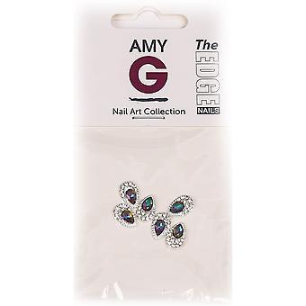 The Edge Nails Amy G - 3D Nail Art Nail Jewels - Rainbow Pear (6 PCS) (3003053)