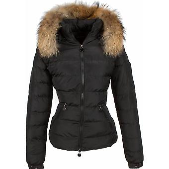 Fur coats - Winter coat Short - Fur collar - 2 Zippers - Black