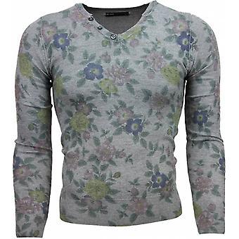 Casual Sweater - Floral Motif Print - Dark Grey
