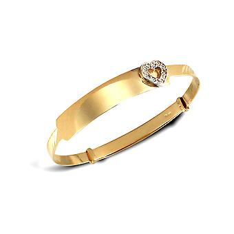 Jewelco London Girls Solid 9ct Yellow Gold White Round Brilliant Cubic Zirconia Heart ID 3mm Expanding Bangle Bracelet