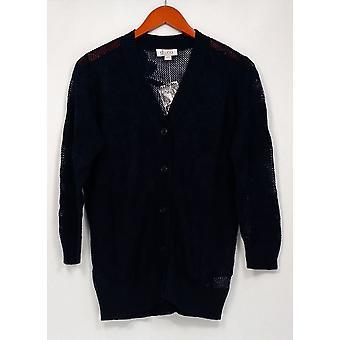 Denim & Co. Pullover Button vorne 3/4 Ärmel Floral Mesh blau A263648