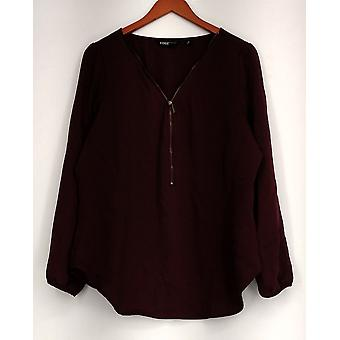 Edge by Jen Rade Top Zip Front with Long Sleeve Wine Red New A258262
