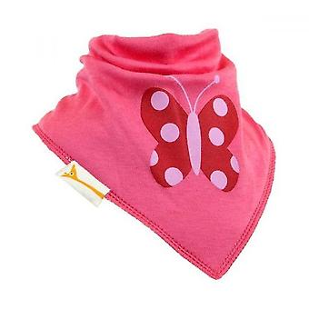 Pink butterfly bandana bib