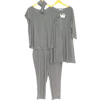 Attitudes By Renee Set Petite 3-Piece Dress Top et Pantalon Noir A308329