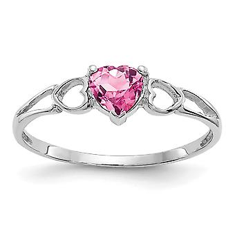 10k White Gold Polished Pink Tourmaline Ring Size 6 Jewelry Gifts for Women