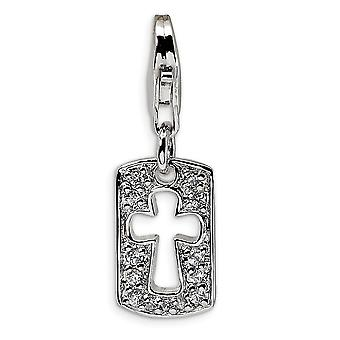 925 Sterling Silver Polished Fancy Lobster Closure CZ Cut out Cro925 Sterling Silver Faith Clip on Lobster Clasp Charm P