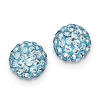 925 Sterling Silver Polished Post Earrings Green Crystal Earrings