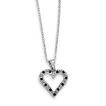 925 Sterling Silver Polished Gift Boxed Spring Ring Platinum plated Diamond Mystique B and W Dia. 18inch Love Heart Neck