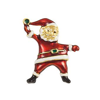 Eternal Collection Ho Ho Ho Jolly Santa Red Enamel Gold Tone Brooch