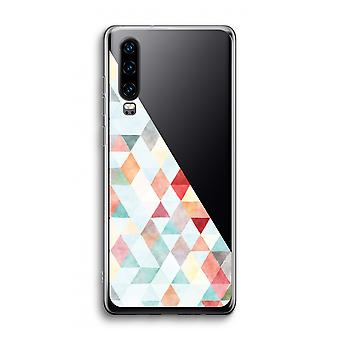 Huawei P30 Caja transparente - Triángulos de colores pastel