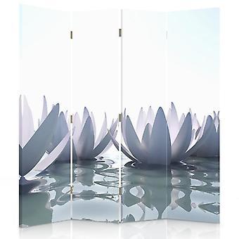 Raumteiler, 4 Paneele, Doppelseitig, Drehbar 360, Leinwand, Lily Water