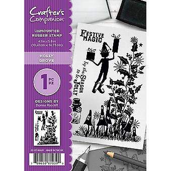 Crafter-apos;s Companion A6 Rubber Stamp - Holly Grove