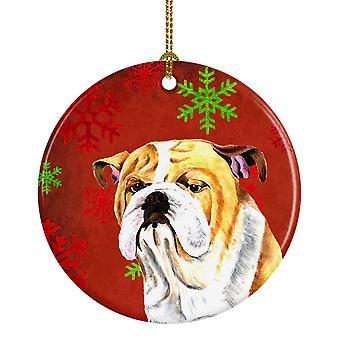 Bulldog Inglés copos de nieve rojo vacaciones Navidad adorno cerámica SC9414
