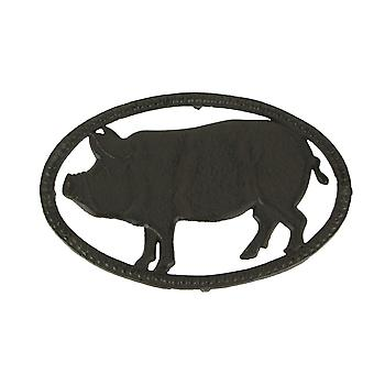 Rustic Brown Cast Iron Pig Kitchen Trivet or Wall Art Hanging Farmhouse Decor