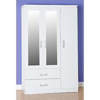 Charles 3 Tür 2 Schublade gespiegelt Kleiderschrank - weiß