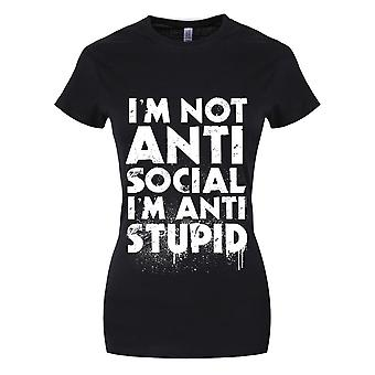 Grindstore Womens/Ladies Im Not Anti-Social Im Anti-Stupid Black T-Shirt