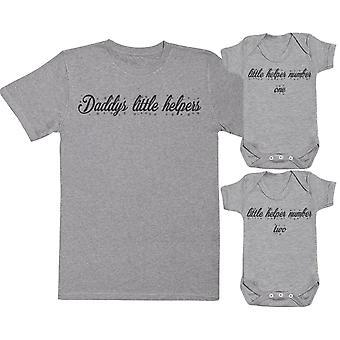 Daddys kleine helpers matching vader Baby Gift Set-mens T shirt & Baby Romper