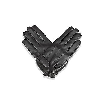 Mens Black Velcro Strap Leather Gloves