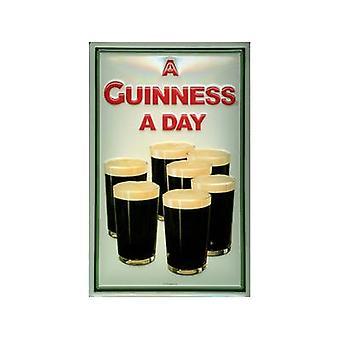 Guinness 7 Pint briller relieff stål signere 300 X 200 Mm
