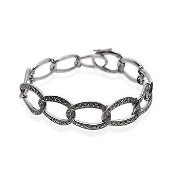 They Marcasite-Ring in Silver Sterling - with Marcasite and fashionable - with bracelet - length 17 -5 cm