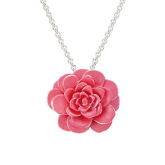 Eternal Collection Camellia Pink Enamel Silver Tone Flower Pendant