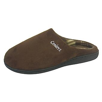 Coolers Mens Microsuede Check Fleece Lined Mule Slippers