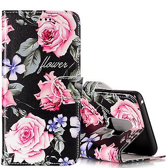 Para Samsung Galaxy S9 Wallet Case Couro Peony Flower Pattern