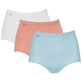 Sloggi Women Basic 3 Pack Maxi Brief, Blue / Light Combination, Size 10
