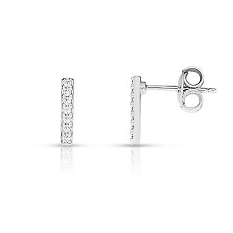 925 Sterling Silver Rhodium Finish 1.8x10.6mm Shiny Fancy Earrings Push Back Clasp 0.14ct Round Clear CZ Jewelry Gifts f